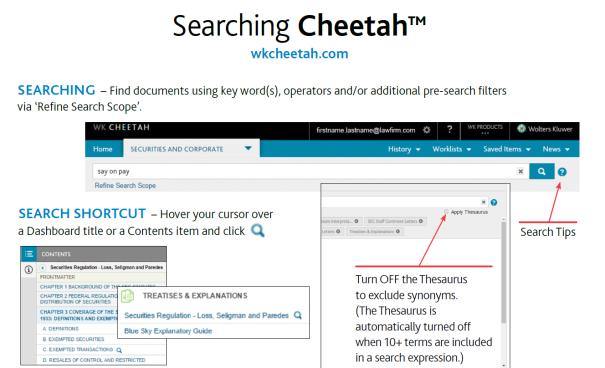 Searching Cheetah Guide