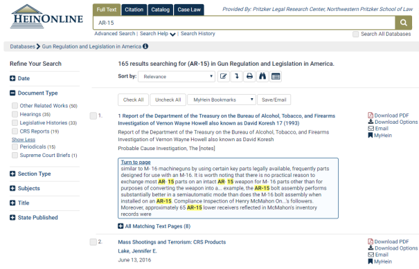 "Search results for search of Gun Regulation and Legislation in America database returns 165 results for ""AR-15"" across several document types"