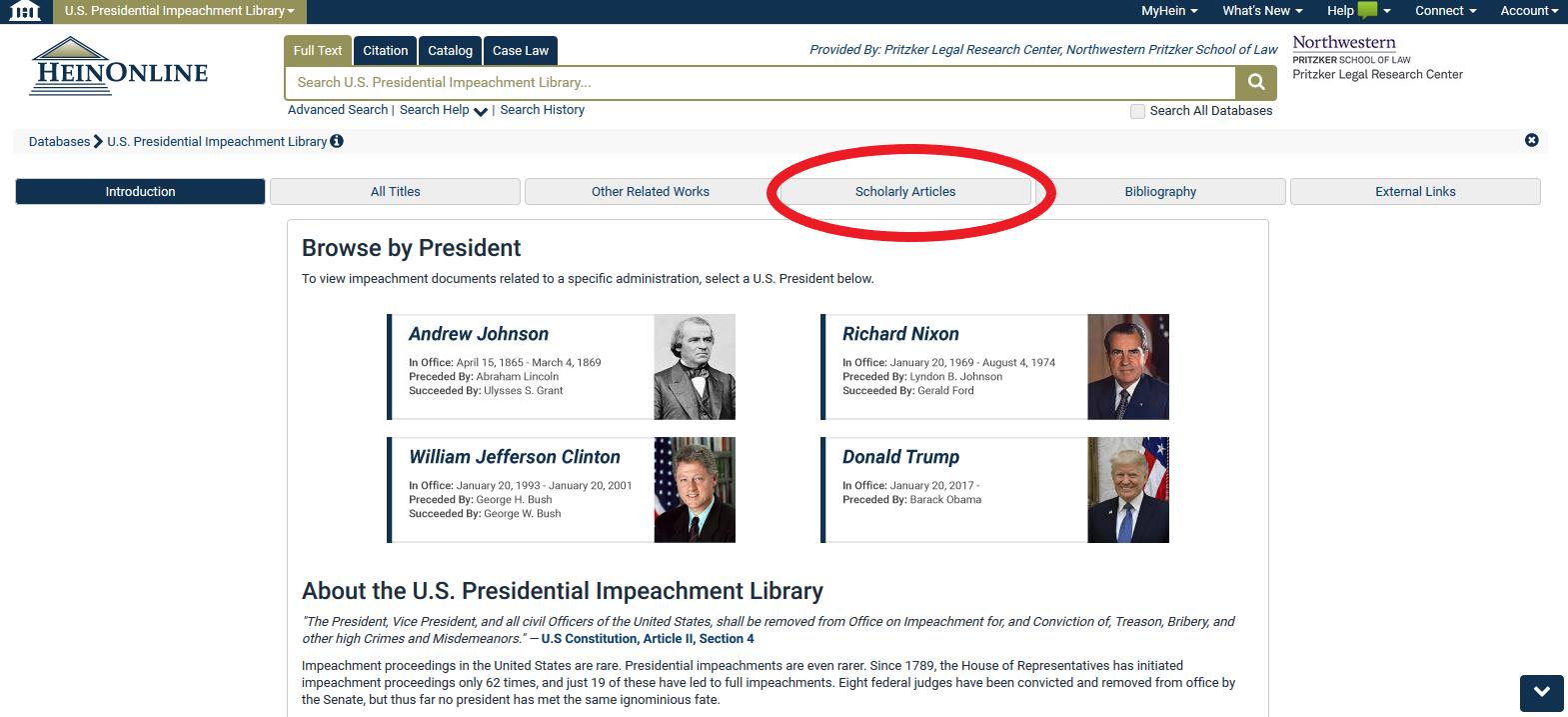 HeinOnline Impeachment Library Image