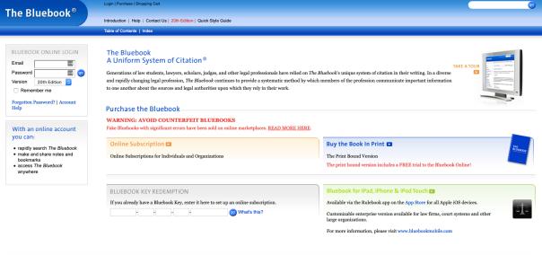 Online Bluebook Homepage