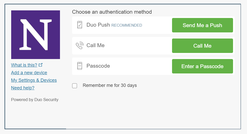 Multi-factor authentication screen gives option for Duo Push