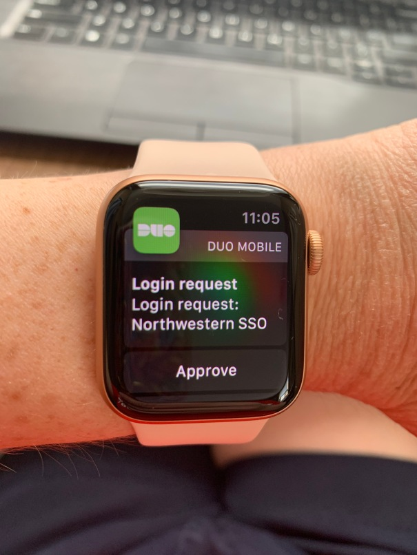 apple watch showing Duo Mobile login request screen with option to approve