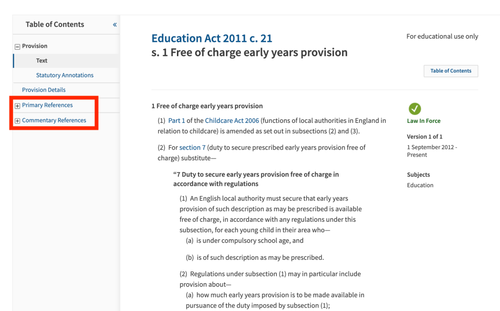Legislation - Primary References and Commentary References