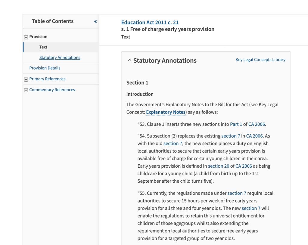 Statutory Annotations